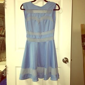"Blue ""Space Cadet"" Dress with Sheer Acccents"